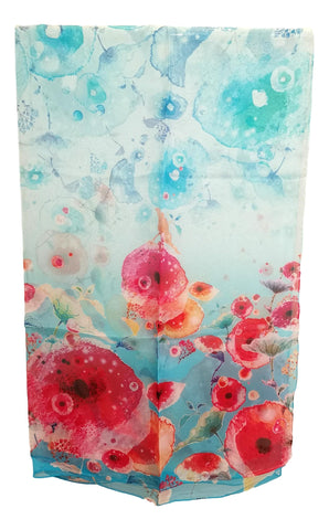 Extra Wide High Quality Silk Chiffon Scarf Blue Theme Floral Print SCH520
