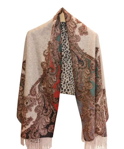 Luxurious 100% Cashmere Scarf & Wrap Paisley and Leopard Print CSH106