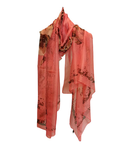 Extra Long Extra Wide Chiffon Scarf Beach Scarf Pink Floral Print CHD331