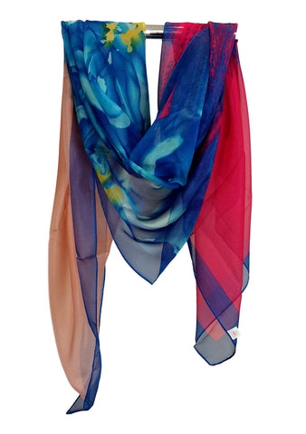 Extra Large Square Chiffon Scarf Blue and Pink CHF110