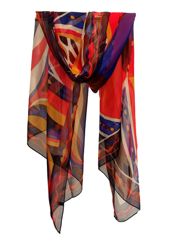Long Chiffon Scarf Blue and red Geometric Print CHL121