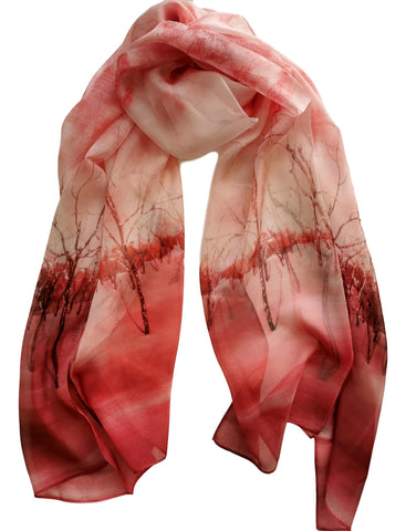 Long Silk Chiffon Scarf Red Theme Floral Print SCH316