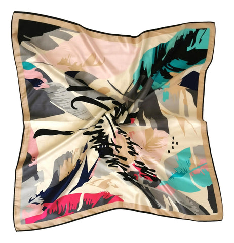 Large Square Silk Scarf Turquoise and Pink Abstract Print SZD307