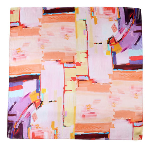 Mid-Sized Square Silk Scarf Pink and Orange Theme ZFD231