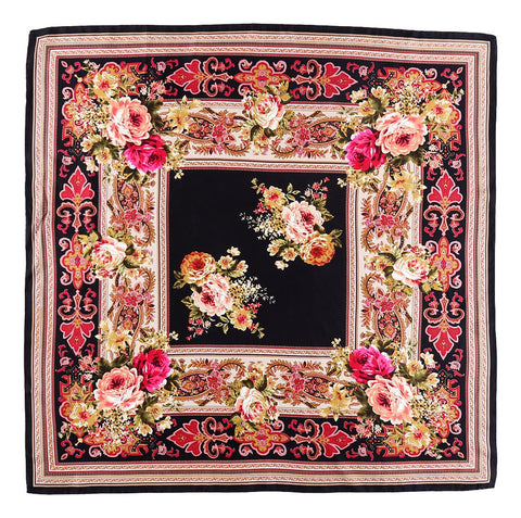 Large Square Twill Silk Scarf Black theme Flower Print XWC716