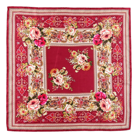 Large Square Twill Silk Scarf Maroon Theme  Flower Print XWC717