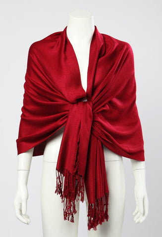 on sale Pashmina Wrap Shawl Scarf Plain Dark Red Color PSH004