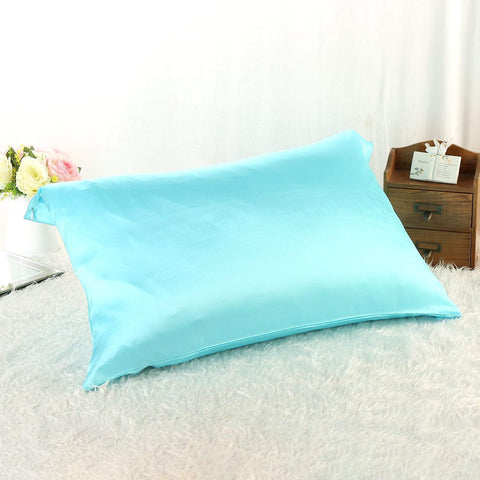 Yangtze Store 100% Silk Pillowcase Light Blue Color King Size PC10K