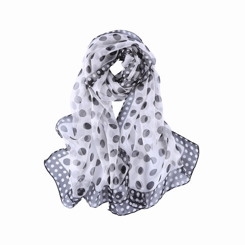 Yangtze Store 100% Silk Scarf Lightweight Black and White Polka Dot Print QQL437