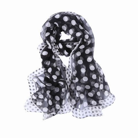 Yangtze Store 100% Silk Scarf Lightweight Black and White Polka Dot Print QQL440
