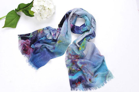 Yangtze Store 100% Wool Scarf Digitally Painted Blue Theme Floral Print WO3006