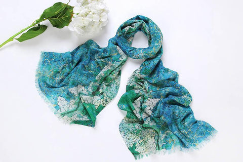 Yangtze Store 100% Wool Scarf Digitally Painted Turquoise Theme WO3007