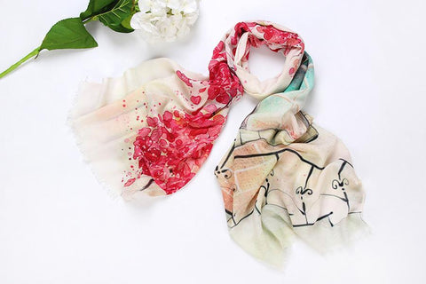 Yangtze Store 100% Wool Scarf Digitally Painted White Theme Floral Print WO3008