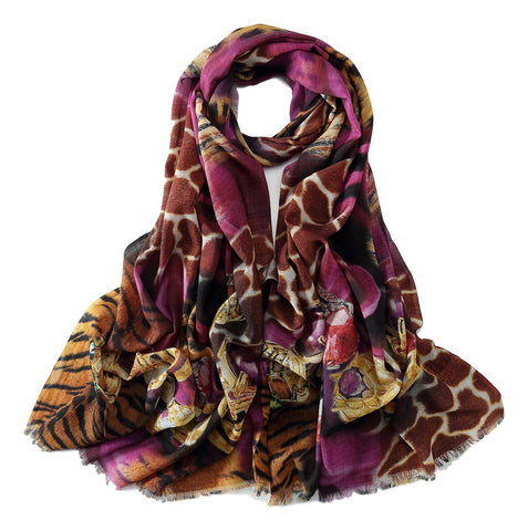 100% Wool Scarf Purple and Brown Leopard Print WO3015
