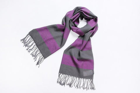 Yangtze Store 100% Wool Scarf Purple and Gray Theme Stripes Pattern WO3003