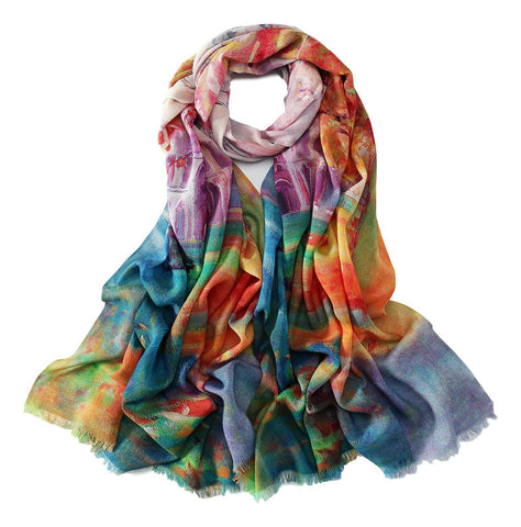 Yangtze Store 100% Wool Scarf Rainbow Color Art Print WO3014