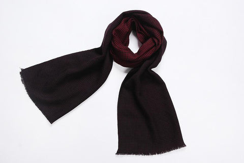 Yangtze Store 100% Wool Scarf Red Theme Check Pattern WO3004