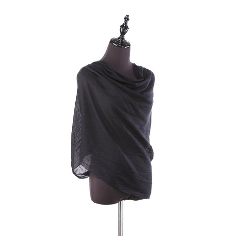 Yangtze Store 100% Wool Scarf Solid Plain Color Black WO2101