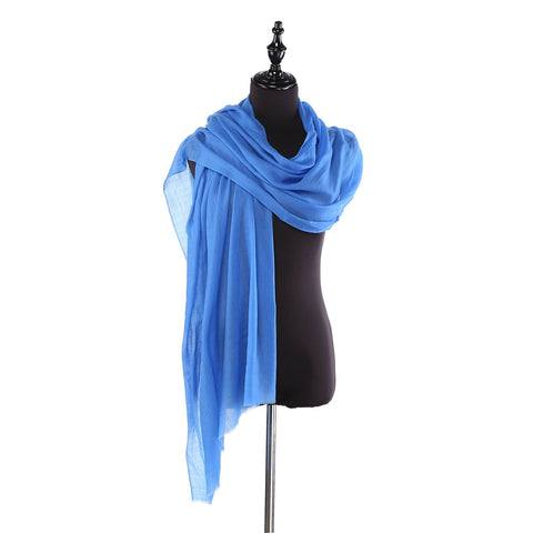 Yangtze Store 100% Wool Scarf Solid Plain Color Blue WO2103