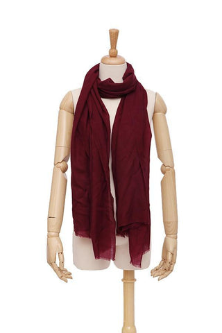 Yangtze Store 100% Wool Scarf Solid Plain Color Burgundy WO2102