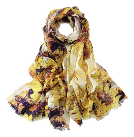 Yangtze Store 100% Wool Scarf Yellow and Purple Sunflower Print WO3012