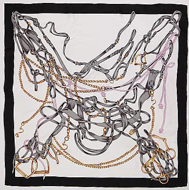 Yangtze Store 14 Momme Large Square Black and White Silk Twill Scarf with Hand Rolled Hem 90x90cm XWC161