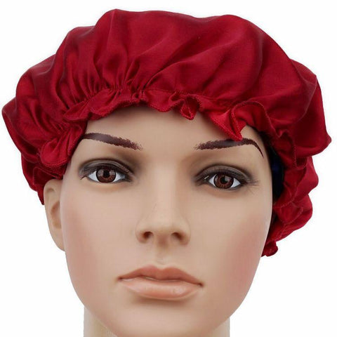 Yangtze Store 19 Momme Solid Red Silk Sleep Cap
