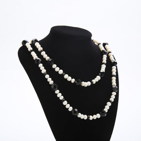 "Yangtze Store 48"" Endless Necklace Freshwater White Pearl with Black Beads PN222"