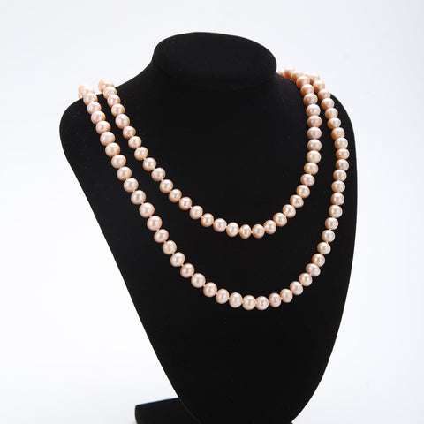 "Yangtze Store 48"" Freshwater Pearl Endless Necklace Violet  Color PN213"