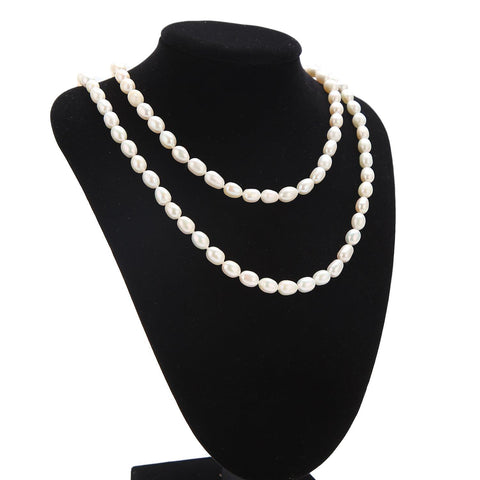 "Yangtze Store 48"" Freshwater Pearl Endless Necklace White  PN215"