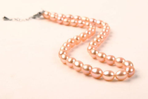 Yangtze Store 7-8 mm Freshwater Knotted Pearl Necklace Pink PEARL109