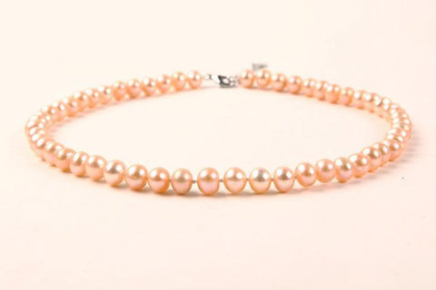 Yangtze Store 8-9 mm Freshwater Knotted Pearl Necklace Champagne PN111
