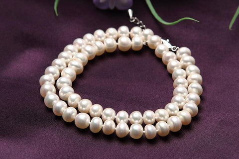 Yangtze Store 8-9 mm Freshwater Knotted Pearl Necklace White PN102