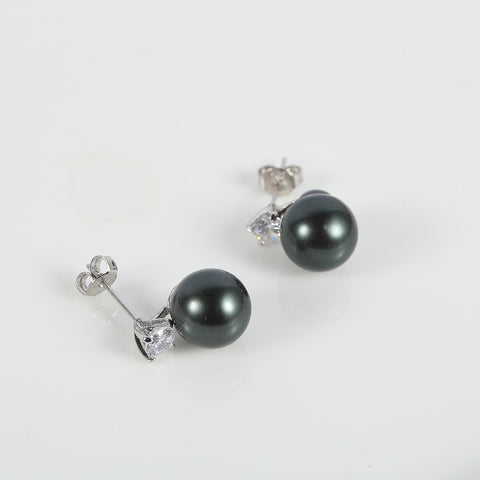 Yangtze Store Black/Silver Stud Pearl Earrings PSE003