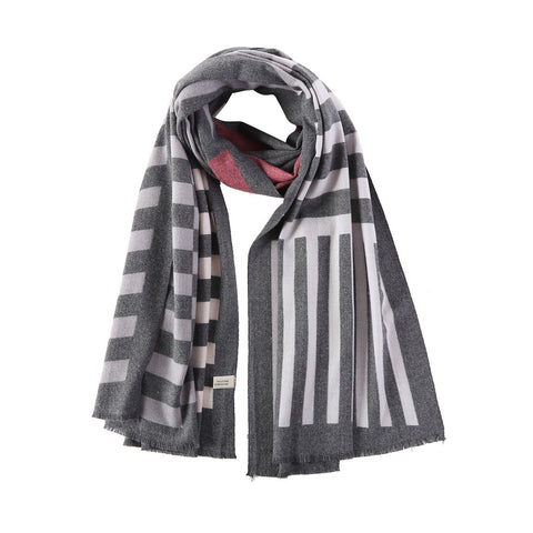 Yangtze Store Cashmere Feel Long Scarf Dark Grey Striped Print FCA004