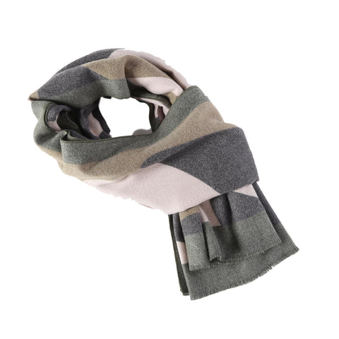 Yangtze Store Cashmere Feel Long Scarf Grey and Green Abstract Print FCA006
