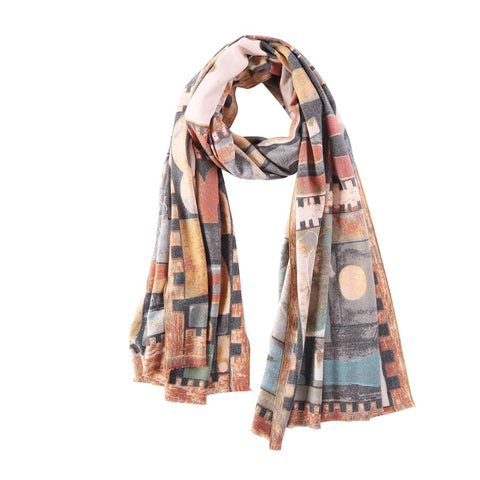 Yangtze Store Cashmere Feel Long Scarf Grey and Yellow Abstract Print FCA005