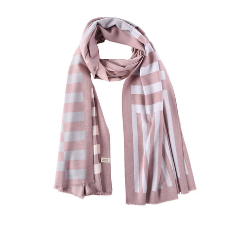 Yangtze Store Cashmere Feel Long Scarf Light Brown Striped Print FCA003