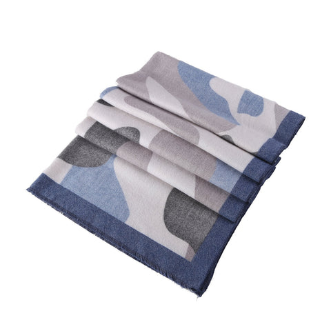 Yangtze Store Cashmere Feel Long Scarf Navy Blue Abstract Print FCA007