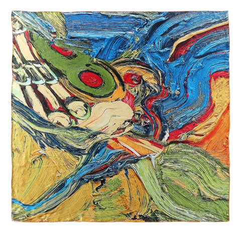 Yangtze Store Extra Large Square Charmeuse Silk Scarf Blue and Yellow Classic Art Print DFD201