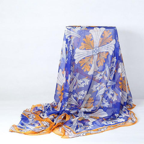 Yangtze Store Extra Large Square Chiffon Scarf Blue and Yellow CHF105