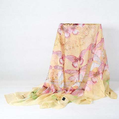Yangtze Store Extra Large Square Chiffon Scarf Champagne Theme Butterfly Print CHF104