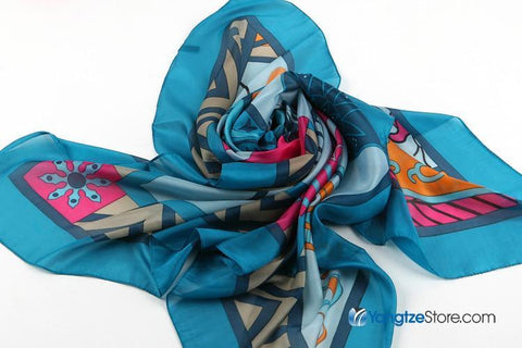 Yangtze Store Extra Large Square Chiffon Scarf Light Blue Theme CHF003