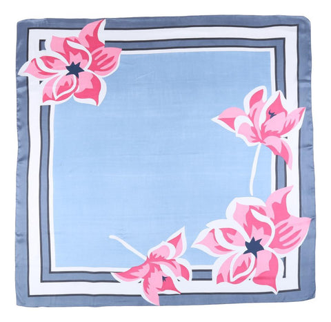 Yangtze Store Extra Large Square Satin Scarf Light Blue Theme Floral Print SAT102