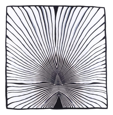 "Yangtze Store Extra Large Square Silk Scarf 43x43"" (110x110cm) Black and White DFL002"