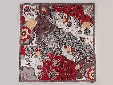 "Yangtze Store Extra Large Square Silk Scarf 43x43"" (110x110cm) Maroon Theme Floral Print DFL004"