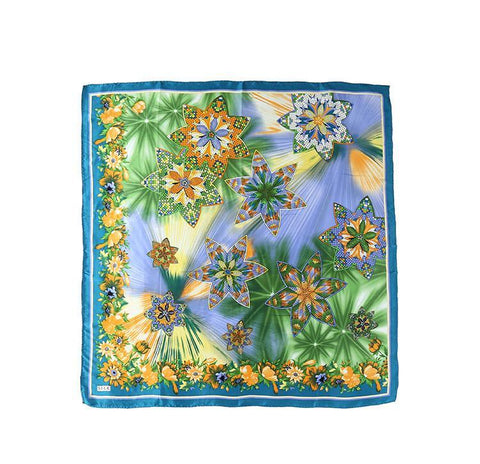 "Yangtze Store Extra Large Square Silk Scarf 43x43"" (110x110cm) Turquoise Theme Floral Print DFL006"
