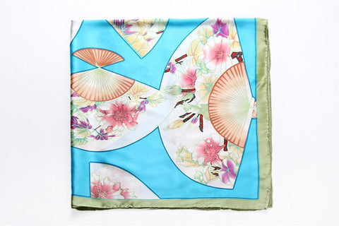 "Yangtze Store Extra Large Square Silk Scarf 43x43""(110x110cm) Turquoise Theme Lotus and Fans Print DFD103"