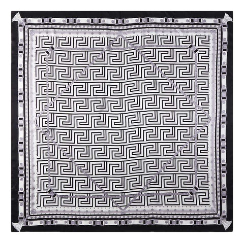 Yangtze Store Extra Large Square Silk Scarf Black and White Geometric Print DFL126