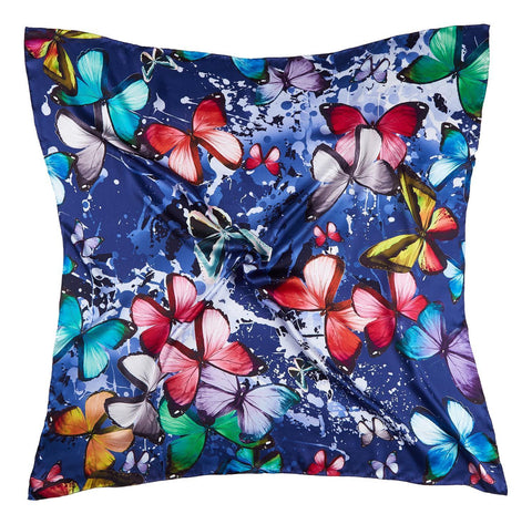 Yangtze Store Extra Large Square Silk Scarf Blue Theme Butterfly Print DFD304